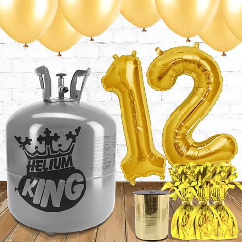 12th Birthday Helium Gas Package with Gold Balloons Product Image