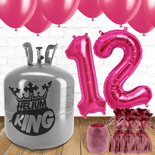 12th Birthday Helium Gas Package with Pink Balloons Product Image