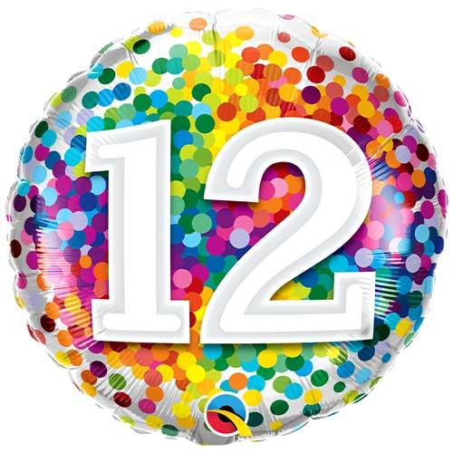 12th Birthday Rainbow Confetti Round Foil Helium Qualatex Balloon 46cm / 18 in
