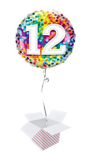 12th Birthday Rainbow Confetti Round Foil Helium Qualatex Balloon - Inflated Balloon in a Box Product Image