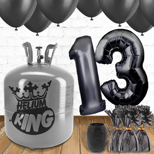 13th Birthday Helium Gas Package with Black Balloons Product Image