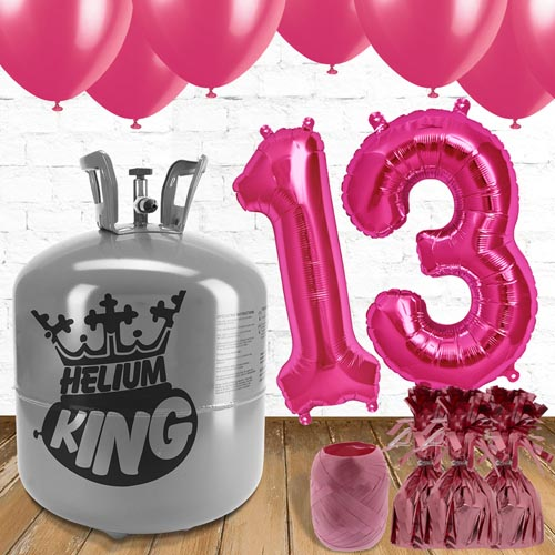 13th Birthday Helium Gas Package with Pink Balloons Product Image
