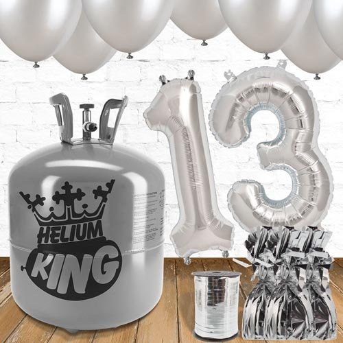 13th Birthday Helium Gas Package with Silver Balloons Product Image