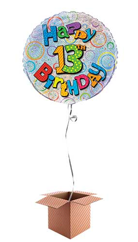Happy 13th Birthday Holographic Round Foil Balloon - Inflated Balloon in a Box
