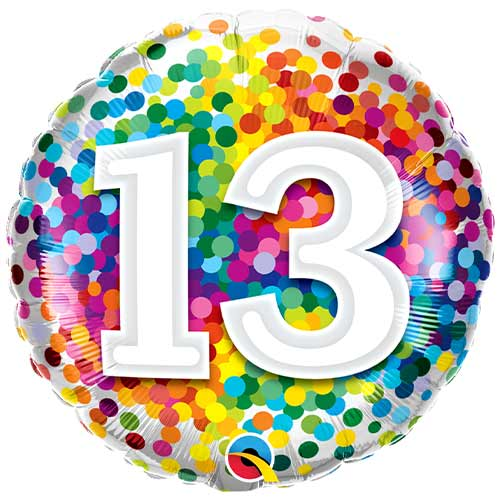 13th Birthday Rainbow Confetti Round Foil Helium Qualatex Balloon 46cm / 18 in