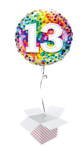 13th Birthday Rainbow Confetti Round Foil Helium Qualatex Balloon - Inflated Balloon in a Box
