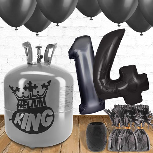 14th Birthday Helium Gas Package with Black Balloons Product Image