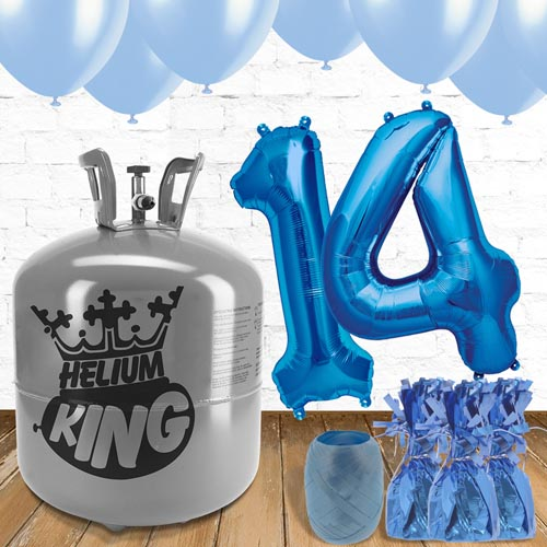 14th Birthday Helium Gas Package with Blue Balloons Product Image