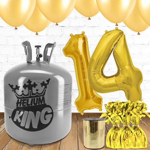 14th Birthday Helium Gas Package with Gold Balloons Product Image