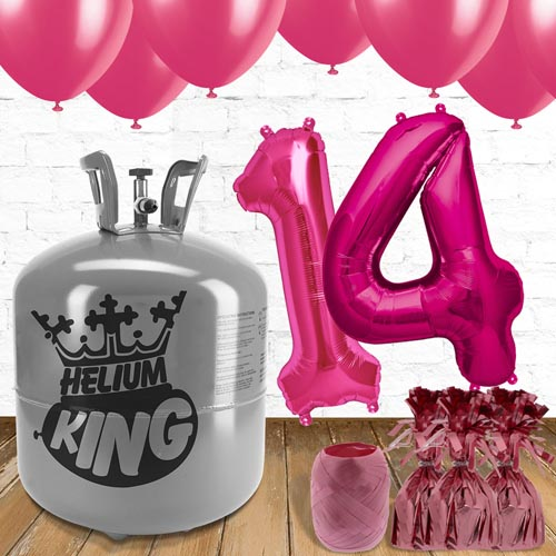 14th Birthday Helium Gas Package with Pink Balloons Product Image