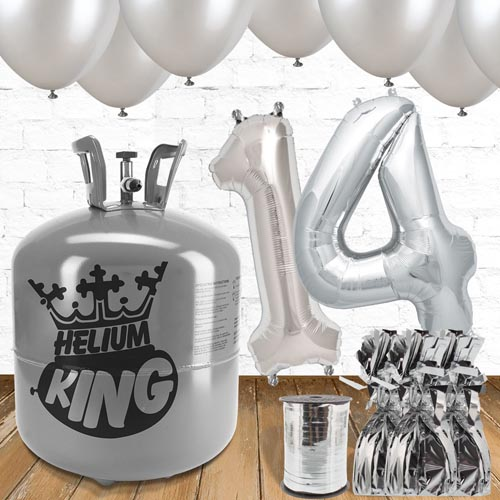 14th Birthday Helium Gas Package with Silver Balloons Product Image