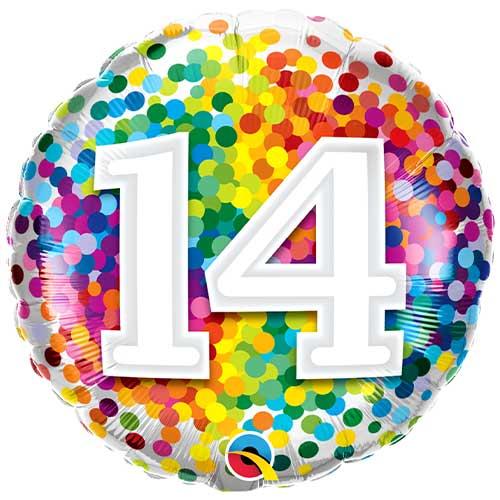 14th Birthday Rainbow Confetti Round Foil Helium Qualatex Balloon 46cm / 18 in Product Image