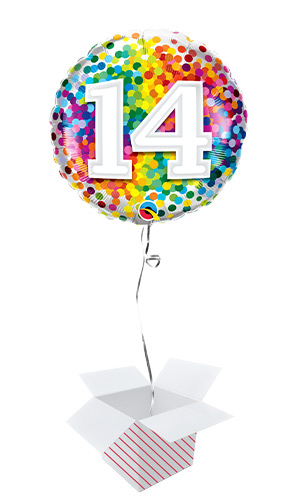 14th Birthday Rainbow Confetti Round Foil Helium Qualatex Balloon - Inflated Balloon in a Box Product Image