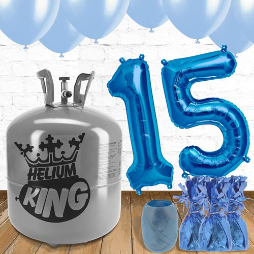 15th Birthday Helium Gas Package with Blue Balloons Product Image