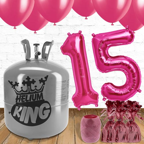 15th Birthday Helium Gas Package with Pink Balloons Product Image