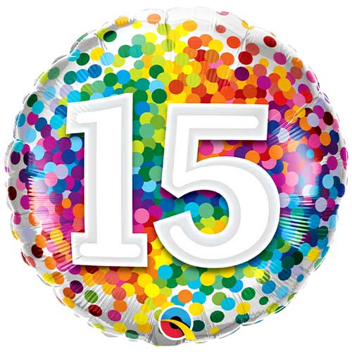 15th Birthday Rainbow Confetti Round Foil Helium Qualatex Balloon 46cm / 18 in