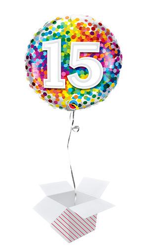 15th Birthday Rainbow Confetti Round Foil Helium Qualatex Balloon - Inflated Balloon in a Box