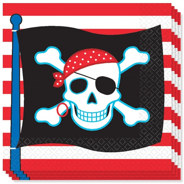 Pirate Party 2 Ply Luncheon Napkins - 13 Inches / 33cm - Pack of 16