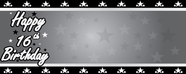 Happy 16th Birthday Faded Stars Design Small Personalised Banner- 4ft x 2ft