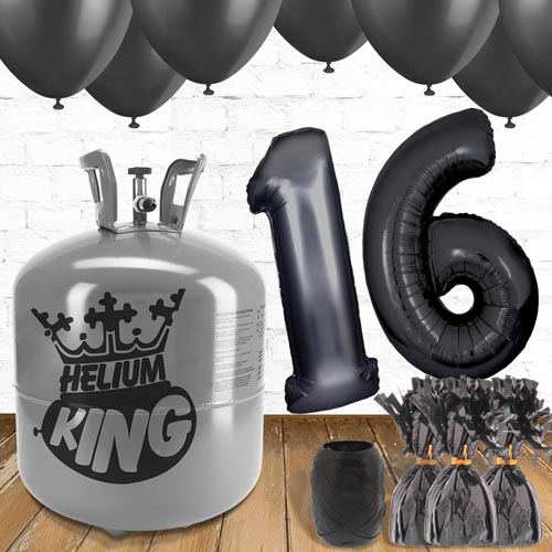 16th Birthday Helium Gas Package with Black Balloons Product Image