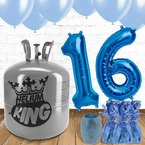 16th Birthday Helium Gas Package with Blue Balloons Product Image