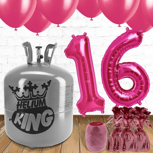 16th Birthday Helium Gas Package with Pink Balloons Product Image