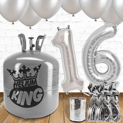 16th Birthday Helium Gas Package with Silver Balloons Product Image