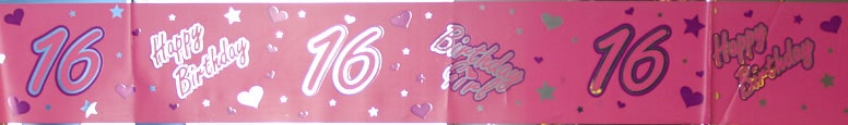 16th Birthday Metallic Foil Sash - 66 x 4 Inches / 168 x 10cm