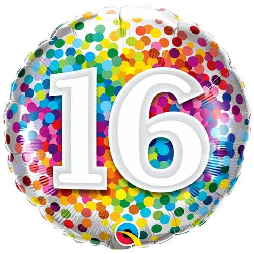 16th Birthday Rainbow Confetti Round Foil Helium Qualatex Balloon 46cm / 18 in