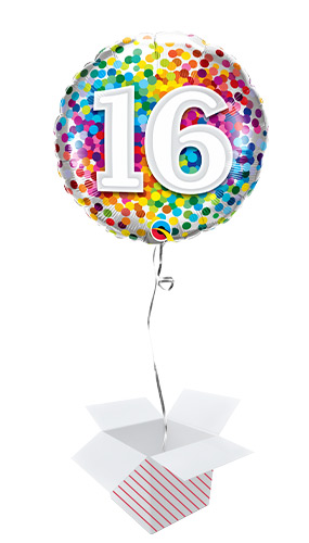 16th Birthday Rainbow Confetti Round Foil Helium Qualatex Balloon - Inflated Balloon in a Box Product Image