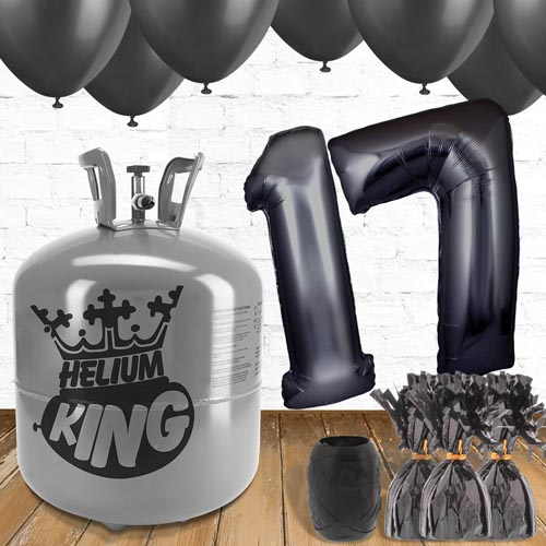 17th Birthday Helium Gas Package with Black Balloons Product Image
