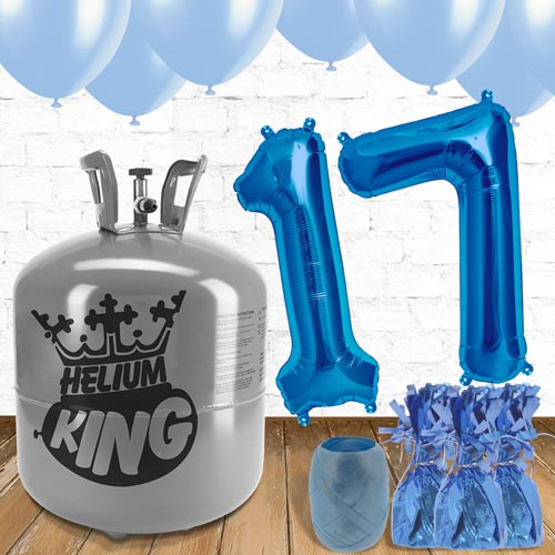 17th Birthday Helium Gas Package with Blue Balloons Product Image