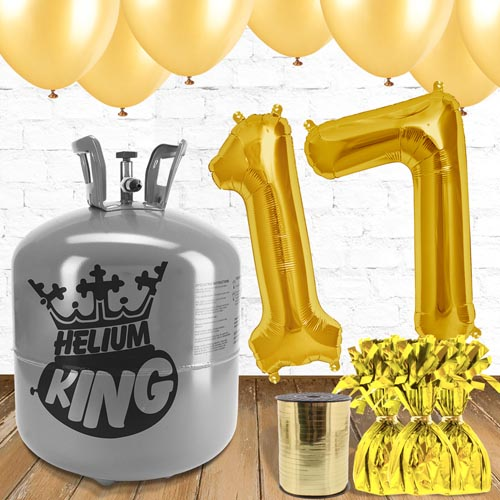 17th Birthday Helium Gas Package with Gold Balloons