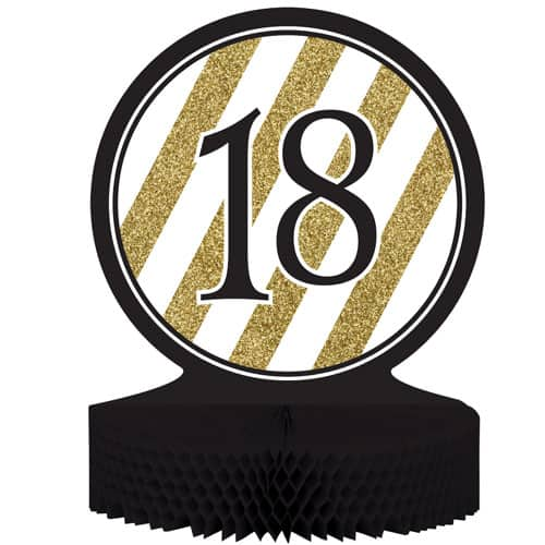 18 Black And Gold Honeycomb Centrepiece - 30cm