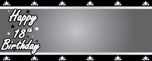 Happy 18th Birthday Silver Stars Design Small Personalised Banner- 4ft x 2ft