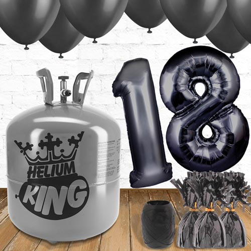18th Birthday Helium Gas Package with Black Balloons Product Image