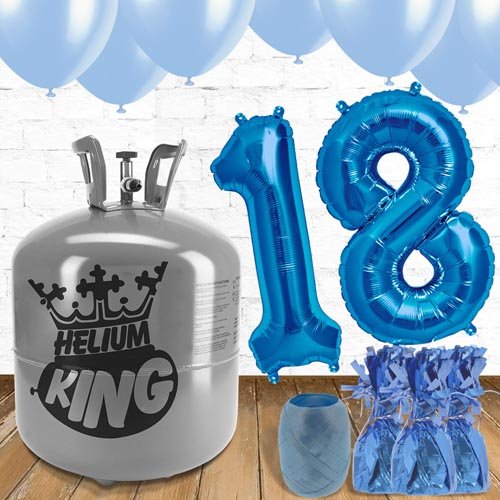 18th Birthday Helium Gas Package with Blue Balloons Product Image