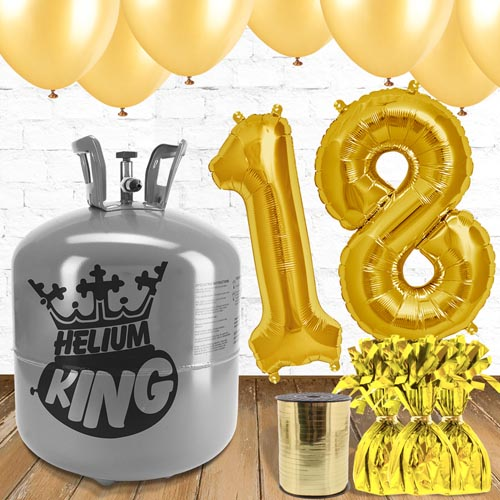 18th Birthday Helium Gas Package with Gold Balloons
