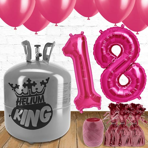 18th Birthday Helium Gas Package with Pink Balloons Product Image