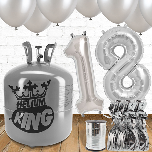 18th Birthday Helium Gas Package with Silver Balloons Product Image