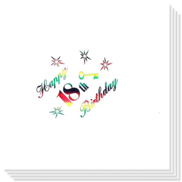 18th Birthday multi Coloured Foil Print 3 Ply Napkins - 13 Inches / 33cm - Pack of 15 Product Image