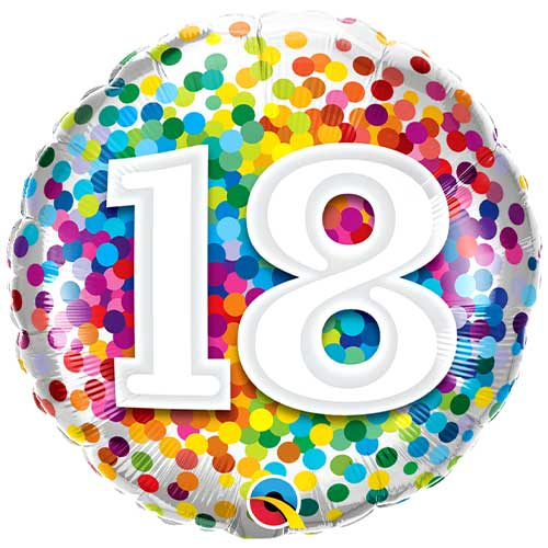 18th Birthday Rainbow Confetti Round Foil Helium Qualatex Balloon 46cm / 18 in Product Image