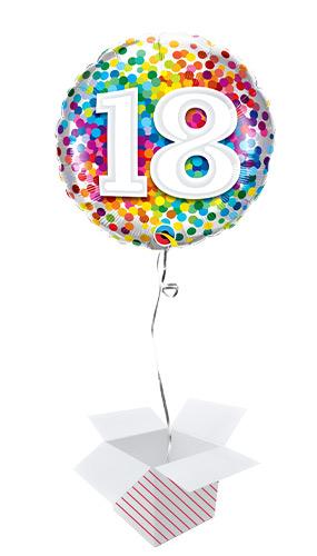 18th Birthday Rainbow Confetti Round Foil Helium Qualatex Balloon - Inflated Balloon in a Box