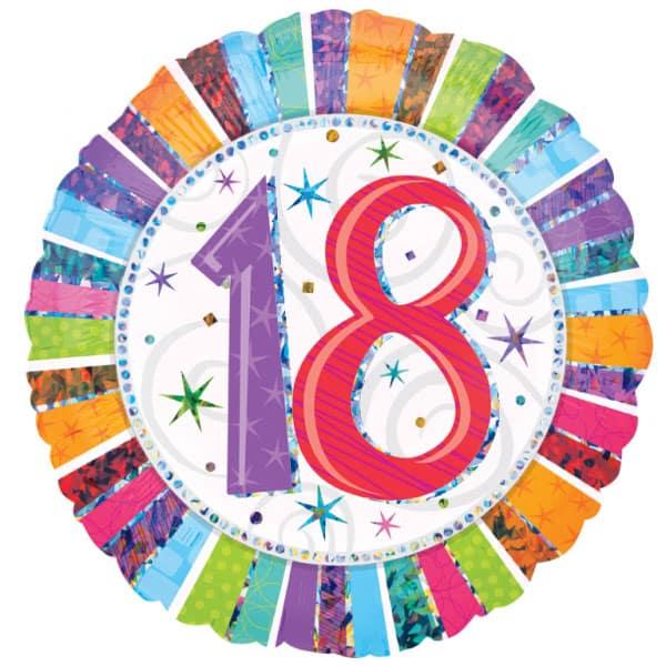 18th Birthday Round Foil Balloon - 18 Inches / 46cm