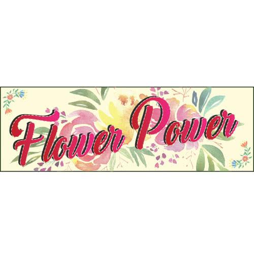 1960s Flower Power PVC Party Sign Decoration 60cm x 20cm Product Image