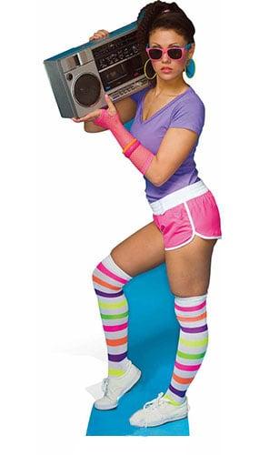 1980s Neon Boombox Girl Lifesize Cardboard Cutout - 177cm Product Image
