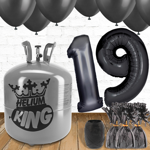 19th Birthday Helium Gas Package with Black Balloons Product Image