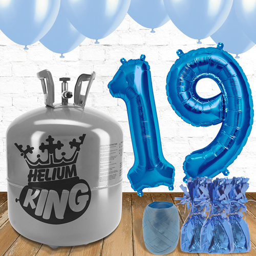 19th Birthday Helium Gas Package with Blue Balloons Product Image