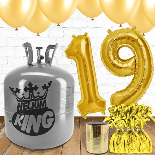 19th Birthday Helium Gas Package with Gold Balloons