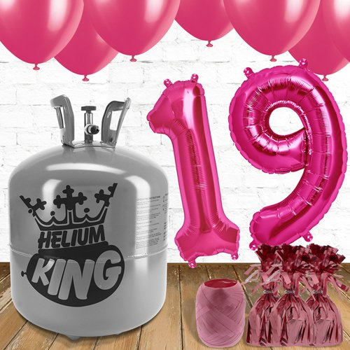 19th Birthday Helium Gas Package with Pink Balloons Product Image